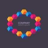 Geometric cubic isometric logo or emblem. Royalty Free Stock Images