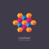 Geometric cubic isometric logo or emblem. Royalty Free Stock Photography