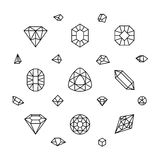 Geometric 3d crystal shapes, diamond, gems thin line vector icons. Linear crystal stone, illustration of jewelry stone Royalty Free Stock Photos