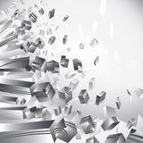 Geometric 3d flash, transparent cubes on white background.  Stock Image