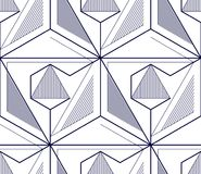 Geometric 3d lines abstract seamless pattern, vector background. Technology style engineering line drawing endless illustration. Single color, black and white Stock Photography