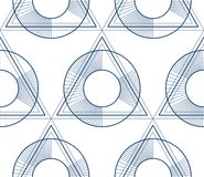 Geometric 3d lines abstract seamless pattern, vector background. Technology style engineering line drawing endless illustration. Single color, black and white Royalty Free Stock Photo