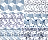 Geometric 3d lines abstract seamless patterns set, vector backgr. Ounds cubes collection. Technology style engineering line drawing endless illustration. Usable Royalty Free Stock Photos