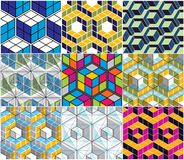 Geometric 3d lines abstract seamless patterns set, vector backgr. Ounds cubes collection. Technology style engineering line drawing endless colorful illustration Stock Image