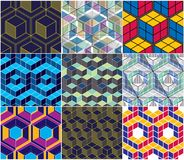 Geometric 3d lines abstract seamless patterns set, vector backgr. Ounds cubes collection. Technology style engineering line drawing endless colorful illustration royalty free illustration