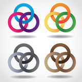 3D multicolored embracing metal ring shapes Stock Photos