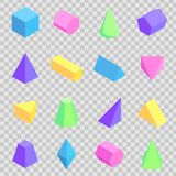 Geometric 3d Prisms Collection, Colorful Figures. Geometric 3d shapes collection, colorful figures set vector illustration on transparent backdrop, triangular Stock Images