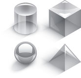 Geometric 3D shapes. Four basic 3D shapes. Isometric perspective Vector Illustration
