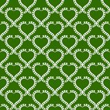 Damask Green Hearts Seamless Pattern. Geometric damask hearts wallpaper with victorian green background. Seamless tile pattern Stock Photography
