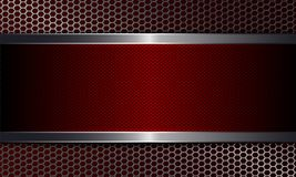 Geometric dark background with metal grille and textured frame of red color. Geometric abstract dark background with metal grille and textured frame of red royalty free illustration