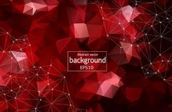 Geometric Dark red Polygonal background molecule and communication. Connected lines with dots. Minimalism background. Concept of t. He science, chemistry royalty free illustration