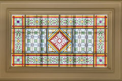 Geometric Decoration Stained Glass Window Roof Stock Images