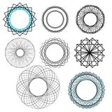 Geometric decorative design elements. Decorative geometric complex designs made from simple shapes Royalty Free Stock Photo