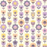 Geometric decorative flower pattern. For fabric wrapping paper, web and print surface design. Violet tender color floral abstract repeatable motif in retro Royalty Free Stock Photo