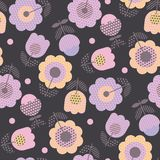 Geometric decorative flower pattern. For fabric wrapping paper, web and print surface design. Violet tender color floral abstract repeatable motif in retro Stock Images