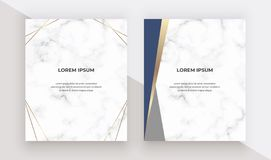 Geometric design cards with blue and gold triangles on the marble texture. Modern templates for wedding invitation, banner, logo, stock illustration