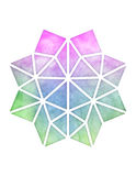 Geometric Design. A colorful geometric design with a watercolor texture in pink, green, and blue Royalty Free Stock Images