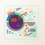 Abstract geometric shapes for modern design. Geometric design cover with dotted backdrop, concentric circles and arrows, cross and triangle in square shape Royalty Free Illustration