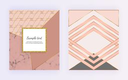 Geometric design with golden lines, triangular shapes. Modern templates for invitation, wedding, placard, birthday, brochure. Geometric design with golden lines royalty free illustration