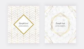 Geometric design with golden polygonal lines on the marble texture. Golden glitter polygonal frame. Modern templates for wedding i. Nvitation, banner, card vector illustration