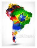 GEOMETRIC DESIGN MAP OF SOUTH AMERICA Stock Photo