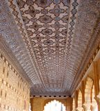 Geometric Design on Marbles on Ceiling of Amer Fort, Jaipur, Rajasthan, India - Arts and Architecture. This is a photograph of decorative ceiling of Amer Fort in stock photos