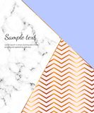 Geometric design poster with gold lines, blue and pink colors and marble texture background. Template for design invitation, card, stock illustration