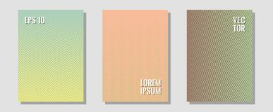 Geometric design templates for banners, covers. Technicolor composition. Zigzag halftone lines wave stripes backdrops. Corporate catalogs. Halftone brochure stock illustration