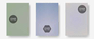 Geometric design templates for banners, covers. Musical album adverts. Halftone lines annual report templates. Digital collection. Halftone brochure lines stock illustration