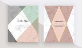 Geometric design with triangular, golden lines on the marble texture. Modern backgrounds for menu, banner, card, flyer, invitation stock illustration