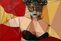Geometric design woman in a mask vector illustration
