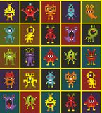 Geometric designed endless wallpaper with cute pixel monsters. Stock Image