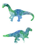 Geometric Dinosaurs. A set of dinosaur illustrations with a watercolor texture and a geometric design Royalty Free Stock Photos