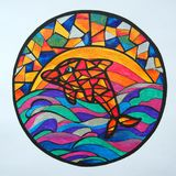 Geometric dolphin in the colorful sea. The dolphin jumps from the sea to the sky against the rainbow. Stained glass technology. Dolphin in the circle. The Stock Photo