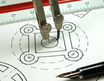 Geometric draw. Compas drawing a geometric draw royalty free stock photo