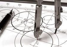 Geometric draw. A geometric draw monochrome image Stock Image