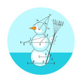 Geometric drawing snowman. Blue geometric drawing snowman in circle. Vector illustration Stock Illustration