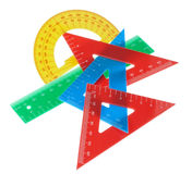 Geometric drawing supplies. Stock Photo