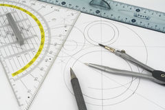 Geometric drawings. And drawing instruments Royalty Free Stock Image
