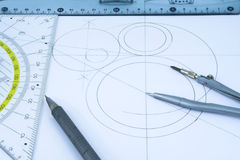 Geometric drawings. And drawing instruments Stock Images