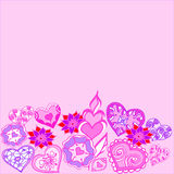 Geometric drawn border of flowers and hearts Stock Photos