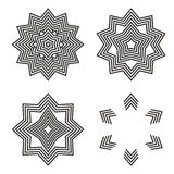 Geometric Element Lines. Collection of trendy  geometric Element.  Vector Lines shape. Design Element. black graphic lines. stars, snowflakes, polygon Stock Photo