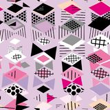 Geometric elements Memphis Postmodern Retro fashion style 80-90s. asymmetrical shapes Rhombus triangle Seamless pattern white gray. Black lilac pink background stock illustration