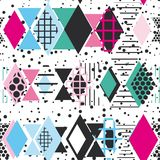 Geometric elements Memphis Postmodern Retro fashion style 80-90s. texture asymmetrical shapes Rhombus triangle Seamless pattern bl. Ack blue pink background for stock illustration