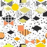 Geometric elements Memphis Postmodern Retro fashion style 80-90s. texture asymmetrical shapes Rhombus triangle Seamless pattern Ye. Llow orange gray black pink stock illustration