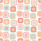 Geometric elements squares seamless pattern pastel colors Stock Images