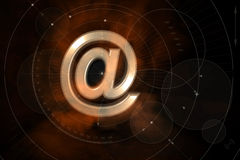 Geometric Email Background. An illustrated email background with a 3D metallic '@' sign at the center on a geometric layout Stock Photography
