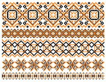 Geometric embroidery borders and frames. Set composed of patterns of squares and diamonds in a variety of widths and linear designs Stock Image