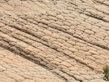 Geometric erosion patterns on sandstone; scene from around the Red Cliffs National Conservation Area on the Yellow Knolls hiking t. Interesting Geometric erosion Royalty Free Stock Image