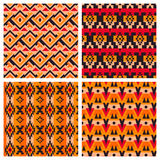 Geometric ethnic aztec mexican seamless patterns. Set. Tribal ornament, boho chic texture stock illustration